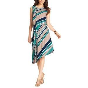 Ann Taylor sleeveless striped asymmetrical dress